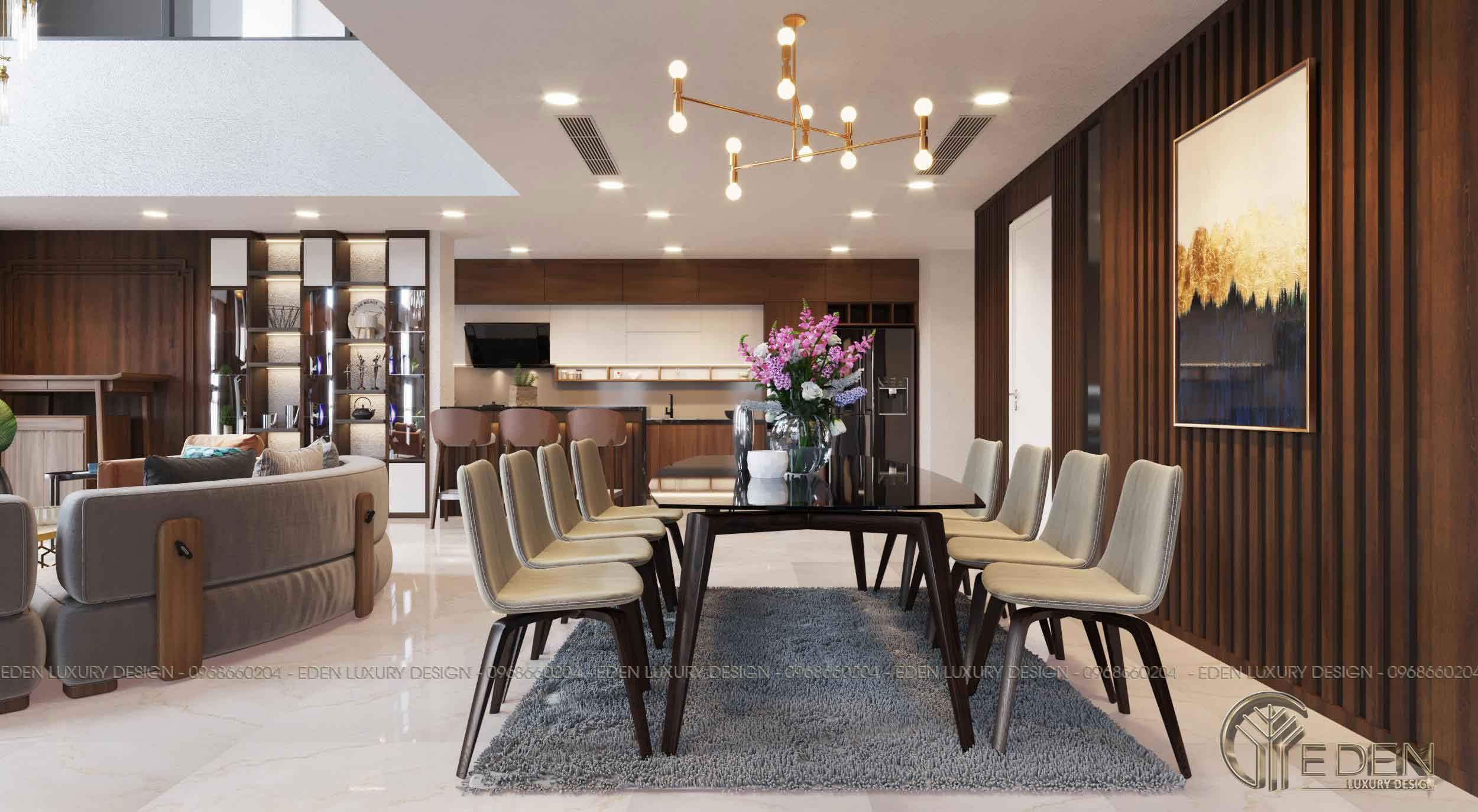 Nội thất phòng khách liền bếp căn hộ chung cư Penthouse Sunshine Palace