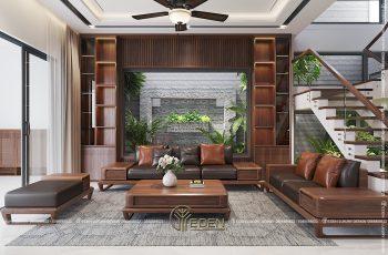Thiết kế nội thất phòng khách biệt thự gỗ óc chó