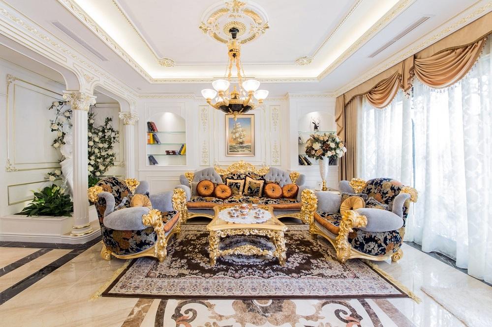 Sự phối hơp tinh tế giữa màu sắc và nội thất phòng khách