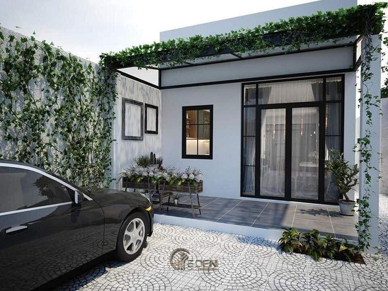Mẫu thiết kế nhà cấp 4 đẹp, giản đơn nhưng tinh tế với gam màu trắng cùng dàn cây xanh giúp cho căn nhà trở nên yên bình hơn bao giờ hết