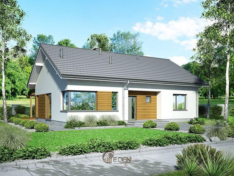 Mẫu thiết kế nhà cấp 4 với phong cách Châu Âu hiện đại, với khung cảnh thiên nhiên khiến căn nhà hiện lên như tranh vẽ