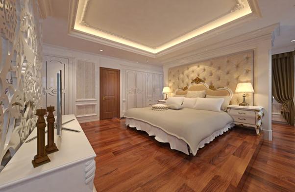 Mẫu thiết kế nội thất phòng ngủ tân cổ điển nhấn mạnh vào các chi tiết hoa văn tinh xảo