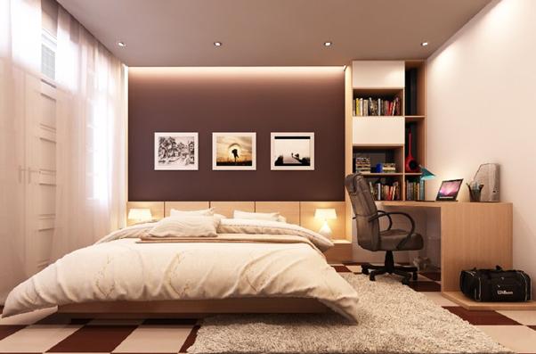 Mẫu thiết kế nội thất phòng ngủ hiện đại này mang đến sự ấm cúng