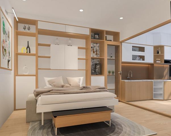 Tủ quần áo tích hợp giường giúp tận dụng triệt để khoảng trống bên dưới