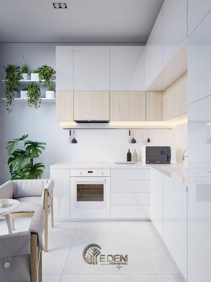 Thiết kế nội thất nhà bếp nhỏ với gam màu trắng tạo cảm giác thoải mái, nhẹ nhàng, tao nhã