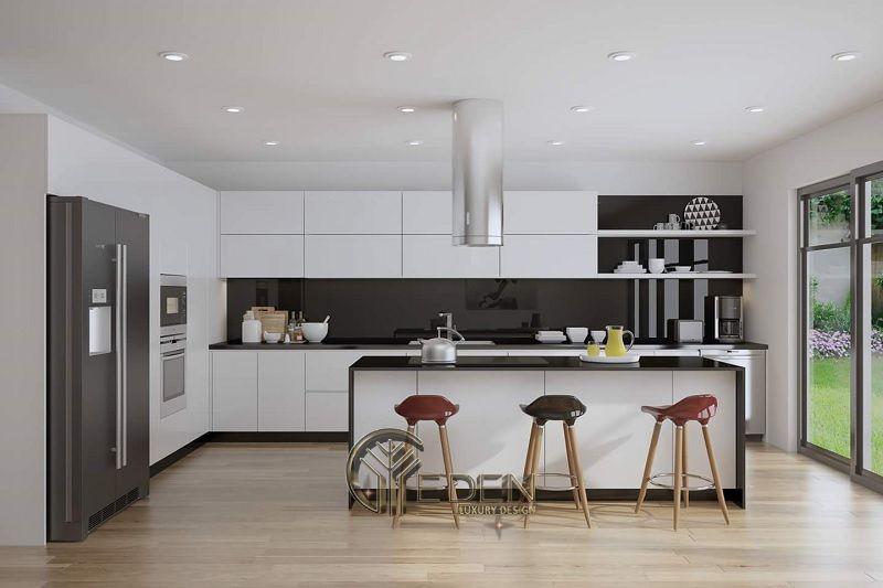 Thiết kế phòng bếp hiện đại với không gian rộng