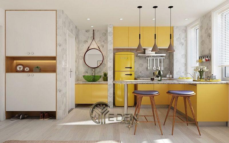 Thiết kế phòng bếp theo phong cách Vintage cổ điển cùng gam màu vàng làm điểm nhấn