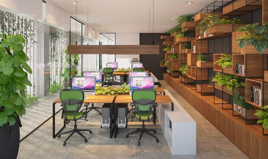 Mẫu thiết kế văn phòng đẹp với không gian xanh