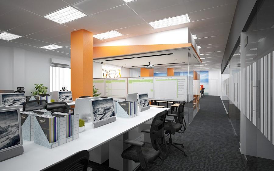Màu cam làm điểm nhấn cho không gian văn phòng