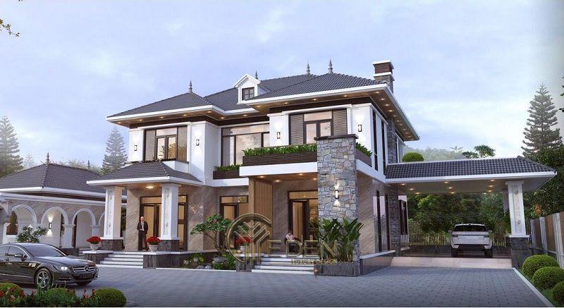 Thiết kế biệt thự 2 tầng phù hợp gia đình dưới 5 thành viên