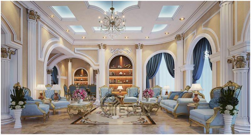 Mẫu Thiết kế nội thất phòng khách biệt thự kiểu Pháp