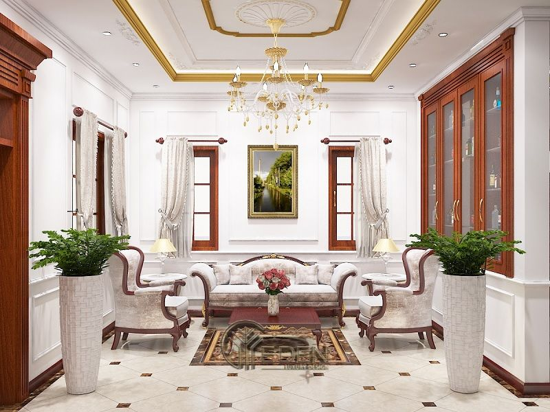 Nội thất thiết kế phòng khách biệt thự Tân cổ điển - Mẫu 3