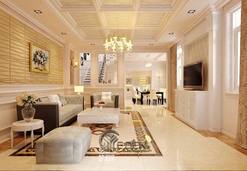 Nội thất thiết kế phòng khách biệt thự Tân cổ điển - Mẫu 1