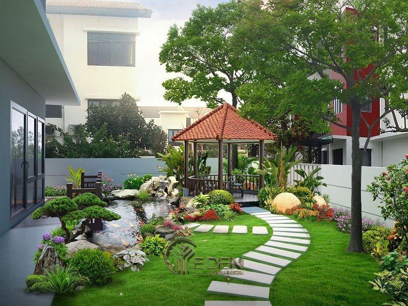 Thiết kế biệt thự sân vườn cần chú trọng đến từng chi tiết, từng hòn đá, tùng ngọn cỏ