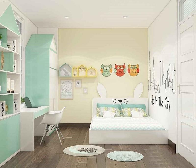 Trang trí nội thất phòng ngủ trẻ em với bàn học (1)