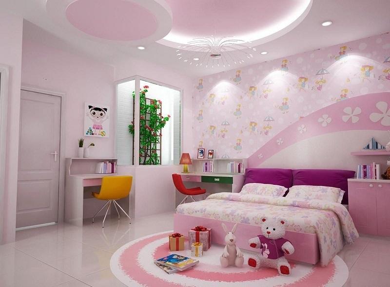 Trang trí nội thất phòng ngủ trẻ em với bàn học (2)