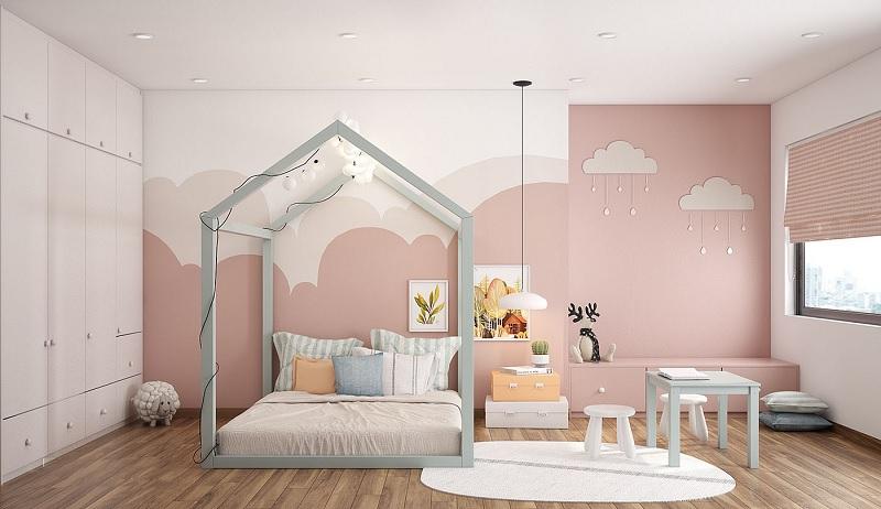 Trang trí nội thất phòng ngủ trẻ em với bàn học (3)