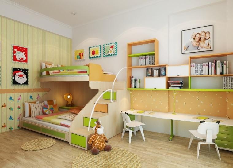 Trang trí nội thất phòng ngủ trẻ em với bàn học (4)