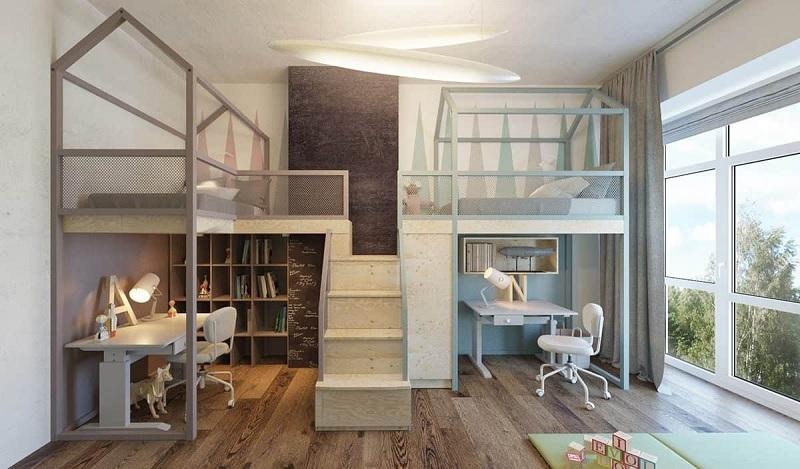 Trang trí nội thất phòng ngủ trẻ em với bàn học (7)