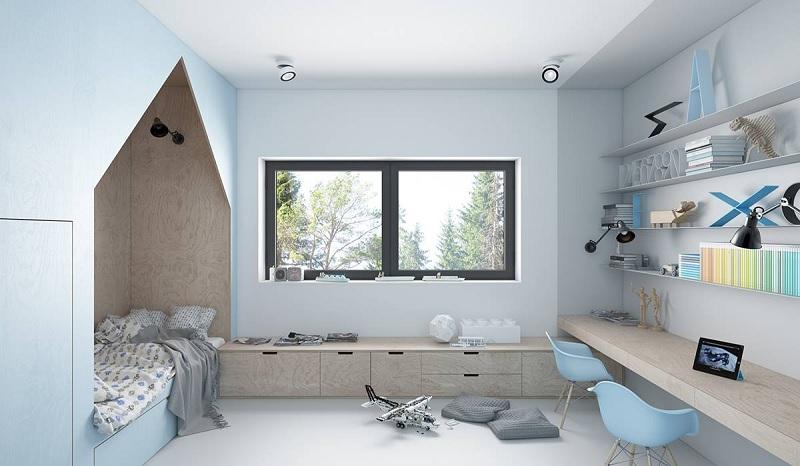 Trang trí nội thất phòng ngủ trẻ em với bàn học (8)