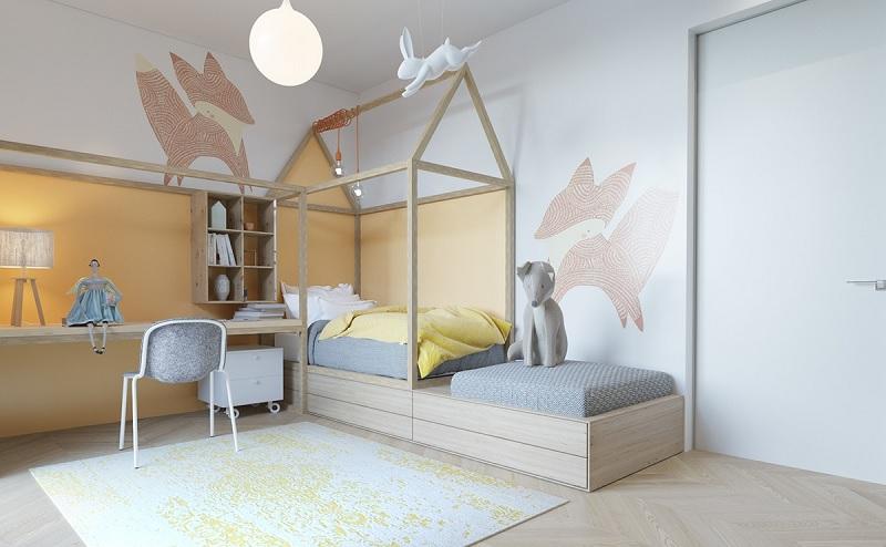 Trang trí nội thất phòng ngủ trẻ em với bàn học (9)