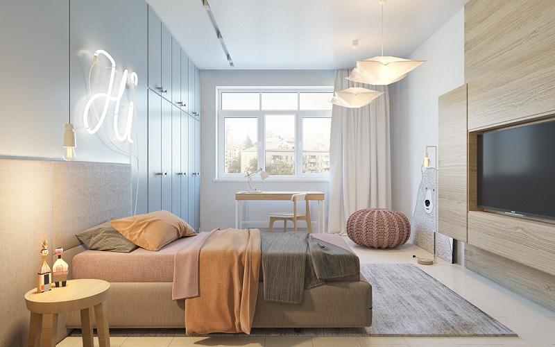 Trang trí nội thất phòng ngủ trẻ em với bàn học (10)
