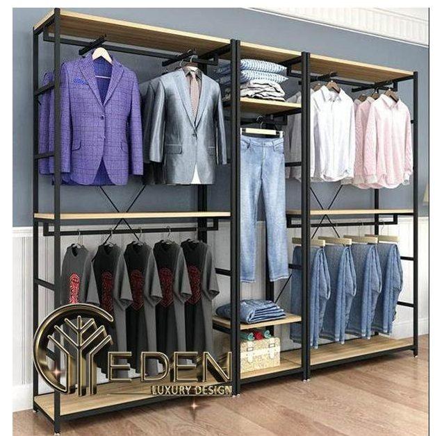 Một mẫu kệ khung sắt treo quần áo decor