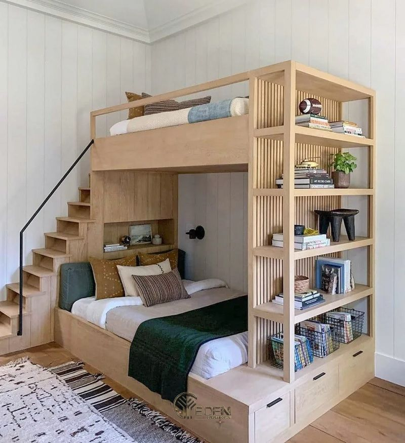 Mẫu giường cho 2 bé kết hợp tủ sách
