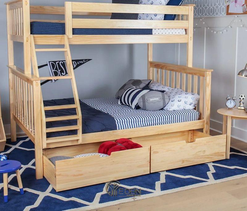Mẫu giường cho 2 bé kết hợp với tủ đựng đồ, giúp cho trẻ hình thành tính ngắn nắp sau khi chơi đồ chơi