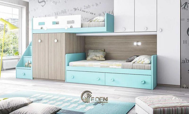 Mẫu giường cho 2 bé kết hợp với tủ đồ, màu sắc xanh tạo cảm giác tươi mới cho căn phòng của trẻ