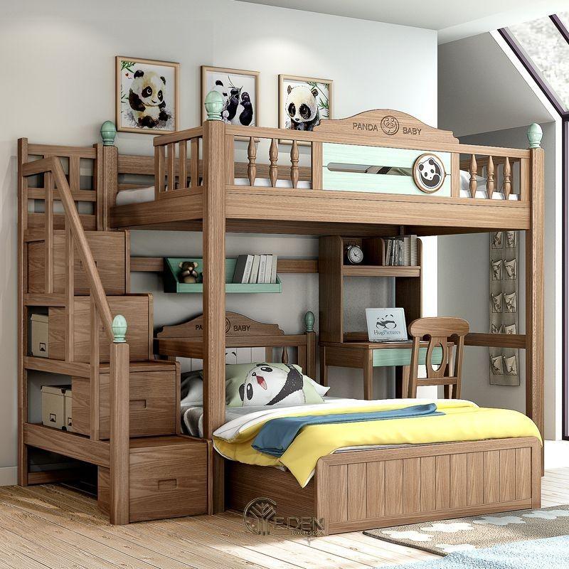 Mẫu giường cho 2 bé hiện đại với hướng giường ngủ khác biệt có kết hợp bàn học cho bé