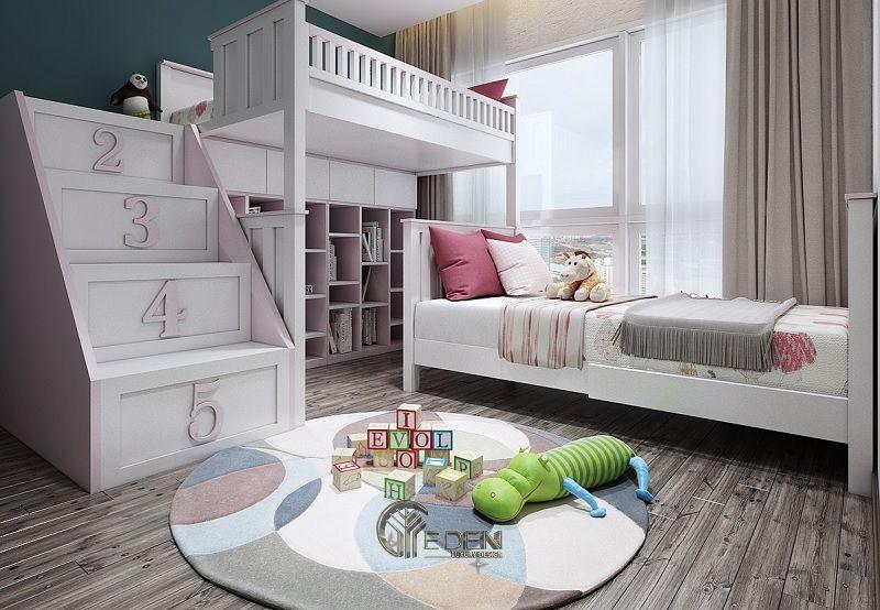 Mẫu giường cho 2 bé Tiểu học, giúp bé có không gian vui chơi thoải mái