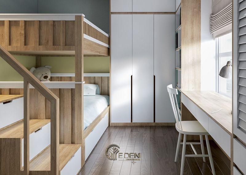 Trang trí phòng ngủ cho phòng ngủ của trẻ theo kiểu Hàn Quốc lấy tông chủ đạo là nâu và trắng