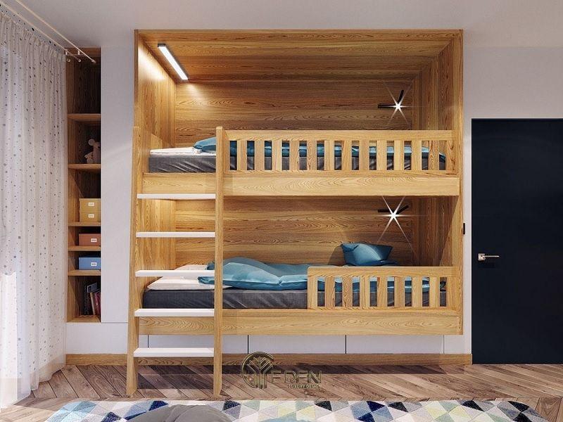 Mẫu giường cho 2 be với phong cách hiện đại kiểu Hàn Quốc, nhỏ gọn và tiện lợi