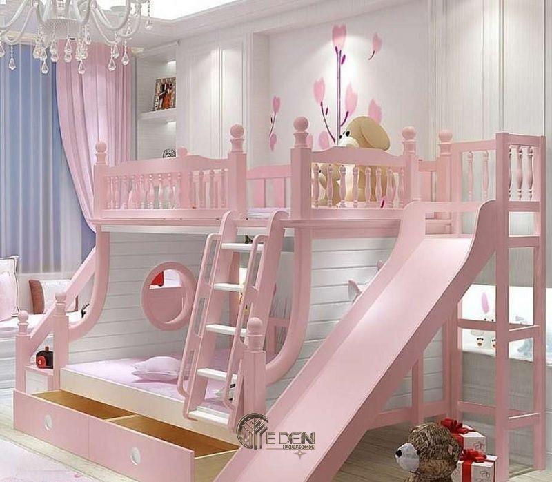 Trang trí phòng ngủ với mẫu giường thông minh kết hợp cầu trượt giúp bé thỏa sức vui chơi, sáng tạo