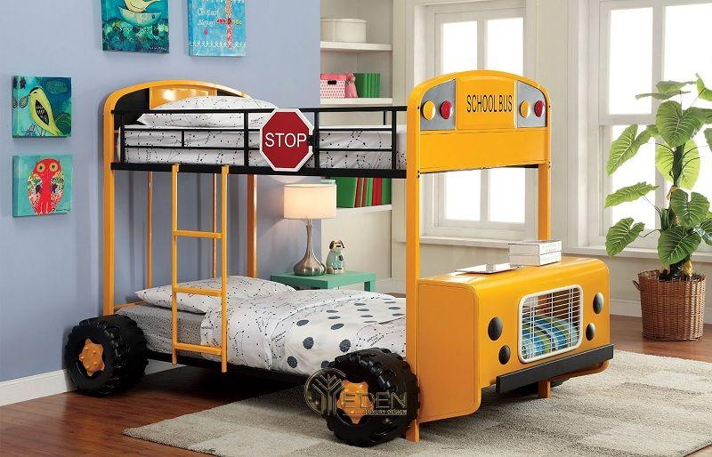 Mẫu giường cho 2 học tiểu học. Kiểu dáng giường ngủ xe bus sẽ giúp trẻ cảm thấy thích thúc và vui vẻ