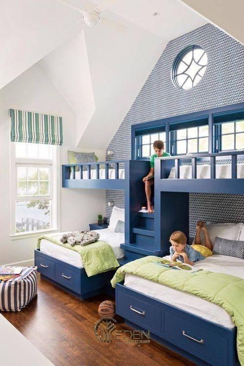 Mẫu giường cho 3 bé trở lên với màu sắc phù hợp với bé trai