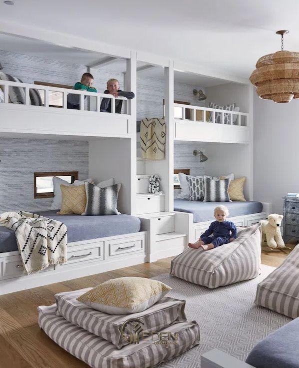 """Mẫu giường cho 3 bé trở lên với màu sắc nhẹ nhàng, tạo ra không gian tươi sáng đúng với màu sắc của """"trẻ thơ"""""""