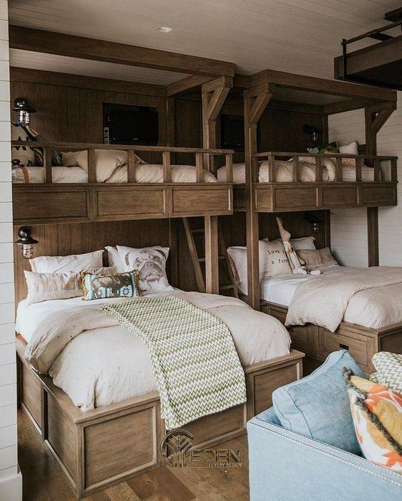 Mẫu giường cho 3 bé trở lên. Mẫu giường phù hợp với các căn hộ ngoại thành, biệt thự mang phong cách Vintage huyền bí
