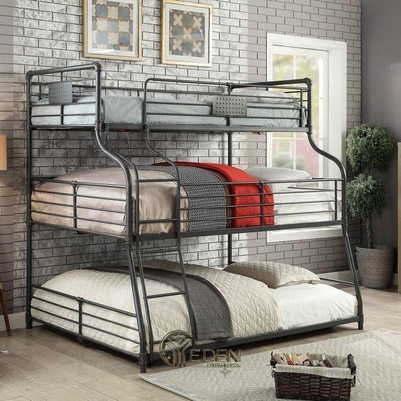 Mẫu giường đơn giản cho 3 bé