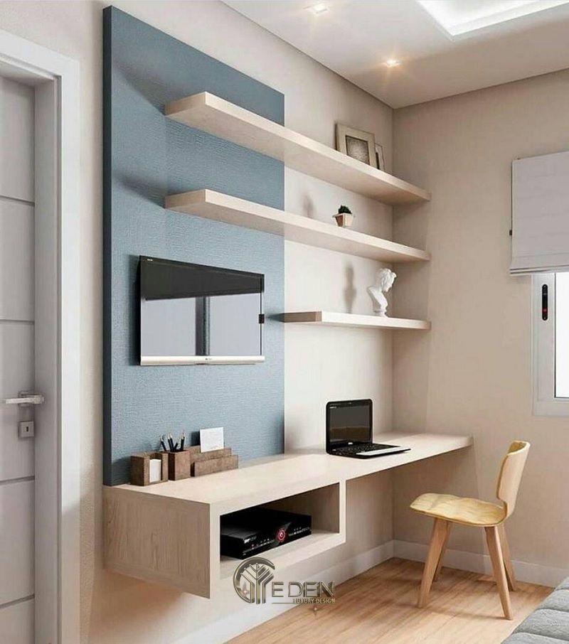 Mẫu kệ thông minh cho phòng khách kết hợp với bàn làm việc. Kiểu dáng phù hợp với không gian chung cư nhỏ