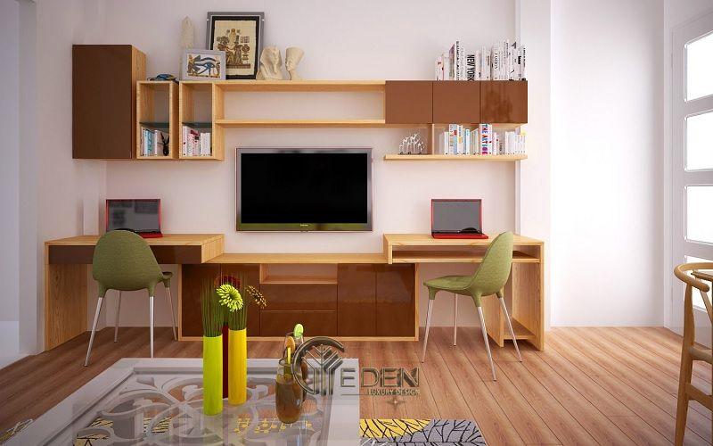 Mẫu thiết kế không gian phòng khách với kệ trang trí hiện đại (10)