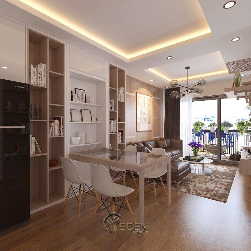 Mẫu thiết kế không gian phòng khách với kệ trang trí hiện đại (9)
