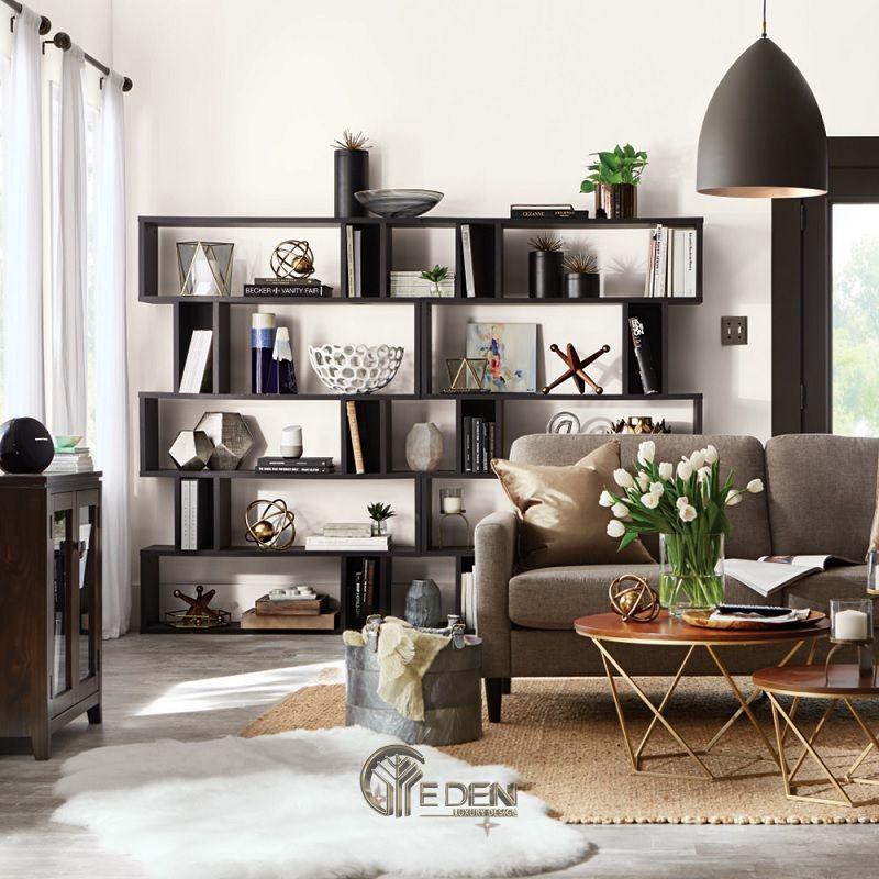 Mẫu thiết kế không gian phòng khách với kệ trang trí hiện đại (7)