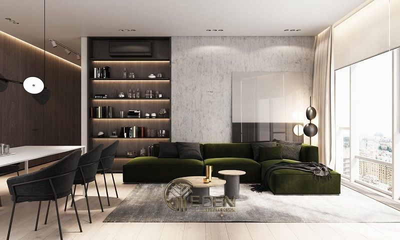 Mẫu thiết kế không gian phòng khách với kệ trang trí hiện đại (6)