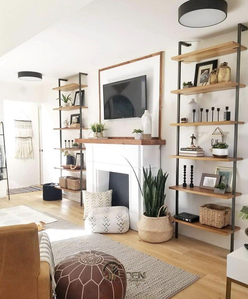 Mẫu thiết kế không gian phòng khách với kệ trang trí hiện đại (4)