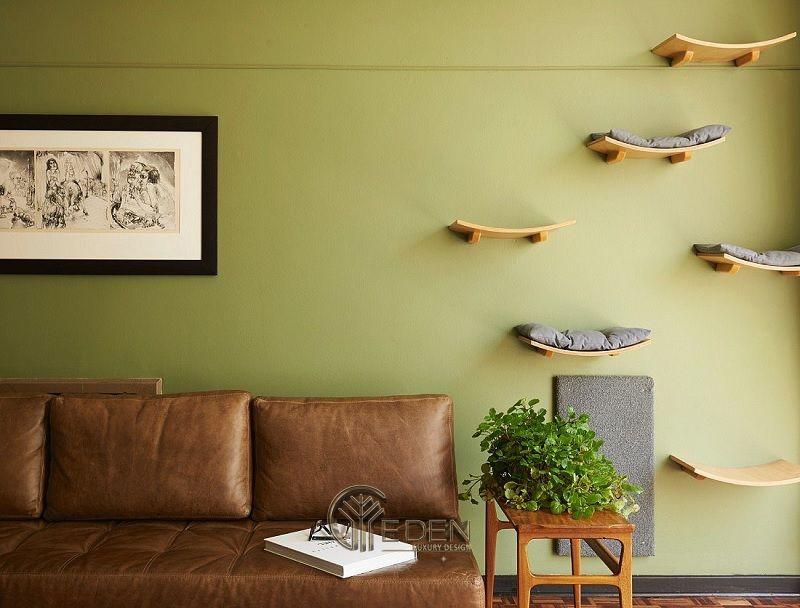 Mẫu thiết kế không gian phòng khách với kệ trang trí hiện đại (3)