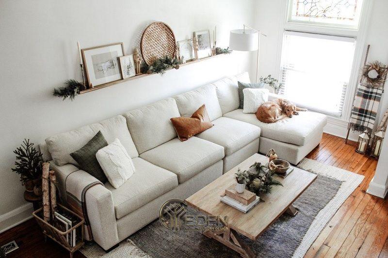 Mẫu thiết kế không gian phòng khách với kệ trang trí hiện đại (2)