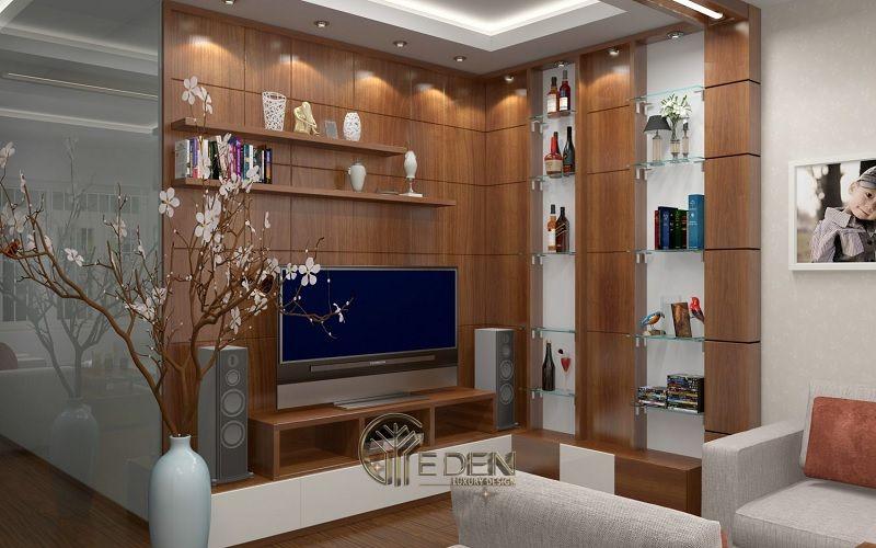 Mẫu thiết kế không gian phòng khách với kệ trang trí hiện đại (1)