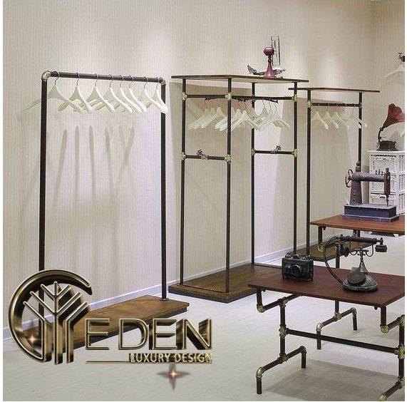 Lựa chọn giá treo thông minh trong thiết kế shop quần áo là phương pháp tối ưu diện tích cho các shop